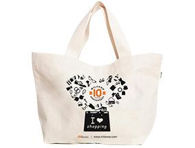 Milanoo Exclusive 10th Anniversary Handbag Canvas Tote Bag Printed Shopping Bags