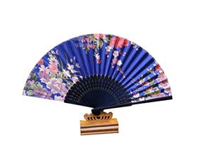 Japanese Folding Fan Floral Print Satin Bamboo Fan